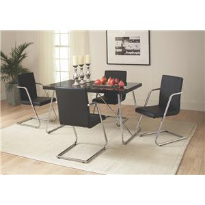 Coaster avram rectangle dining table with tempered glass - Black glass top dining table ...