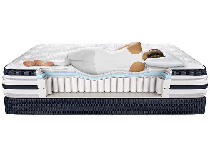 Lady sleeping on a Beautyrest mattress support cross section
