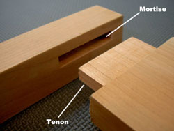 Closeup of Mortise and Tenon joint.