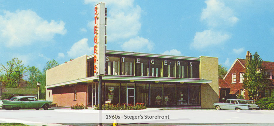 Steger's storefront in the 1960s