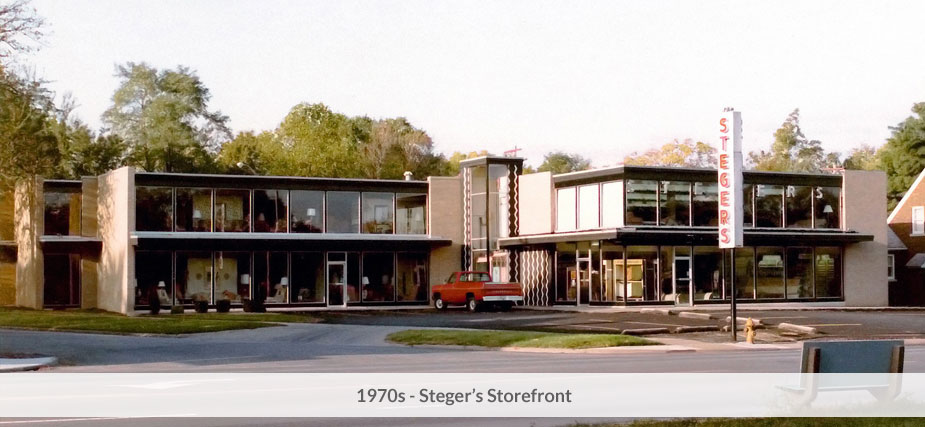 Steger's storefront in the 1970's