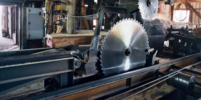 big saw in factory