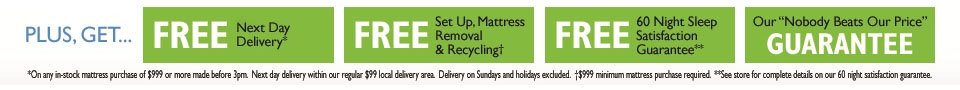 Plus get free next day delivery, setup, mattress removal, recycling, 60 night sleep satisfaction guarantee, and our nobody beats our price guarantee