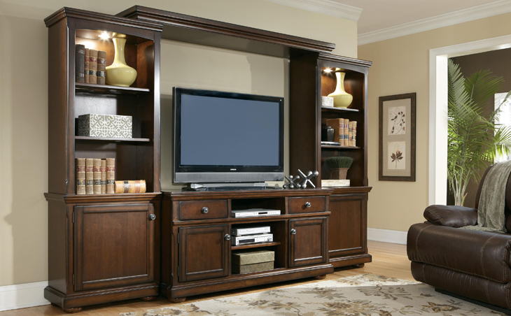 photo of a beautiful, wood entertainment center