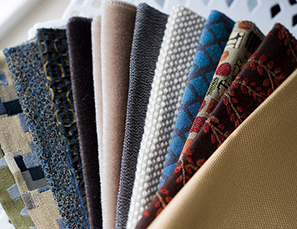 Array of different upolstery fabrics