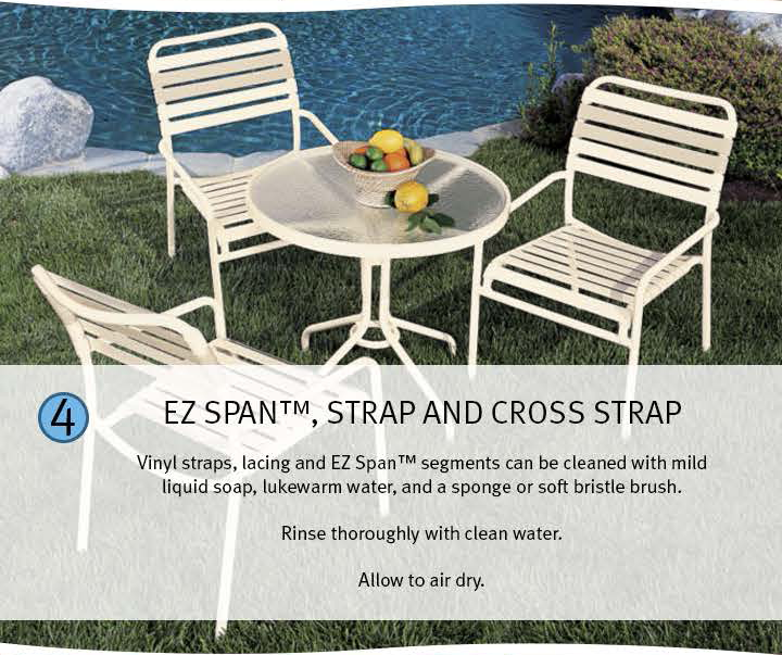 4 Ez Span(TM), strap and cross strap: Vinyl straps, lacing and EZ Span(TM) segments can be cleaned with mld liquid soap, lukewarm water, and a sponge or soft bristle brush. Rinse thoroughly with clean water. Allow to air dry.