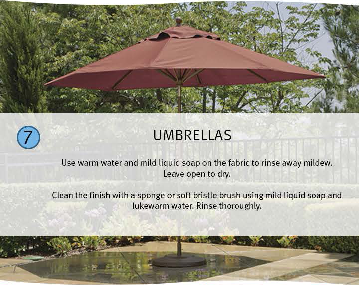 7 Umbrellas: Use warm water and mild liquid soap on the fabric to rinse away mildew. Leave open tor dry. Clean the finish with a sponge or soft bristle brush using mild liquid soap and lukewarm water. Rinse thoroughly.