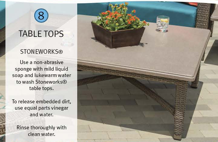 8 Table Tops: Stoneworks(R) Use a non-abrasive sponge with mild liquid soap and lukewarm water to wash Stoneworks(R) table tops. To release embedded dirt, use equal parts vinegar and water. Rinse thoroughly with clean water.