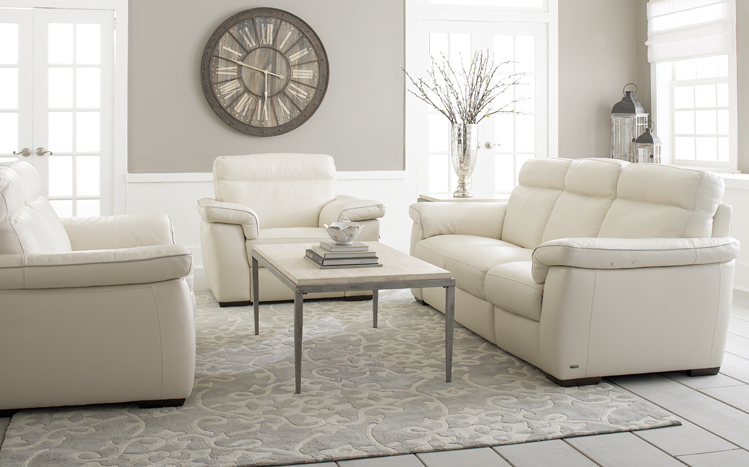 Bon White Leather Sofa, Love Seat, And Chair