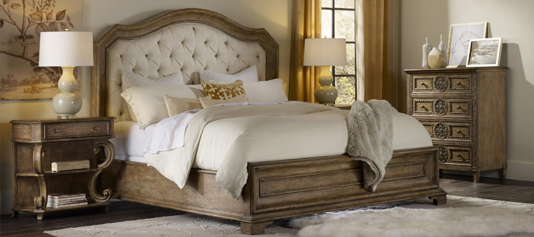 Beige Wood Bed with Tufted Upholstered Headboard