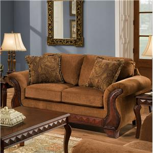 Perfect 6900 Upholstered Loveseat With Exposed Wood Frame By American Furniture