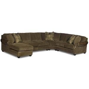 Warner Sectional Air Dream Sleeper Sofa With Left Side Chaise By Bradington Young