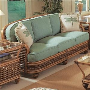 Captiva Tropical Wicker Sofa With Turned Bun Feet By Braxton Culler