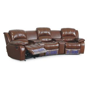 XW8251N 3 Person Leather Theater Seating With Storage And Cupholders By Cheers  Sofa