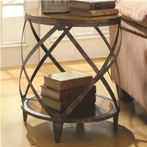 Accent Cabinets Contemporary Metal Accent Table With Drum Shape By Coaster