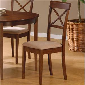 Mix Match Cross Back Dining Chair With Fabric Seat By Coaster