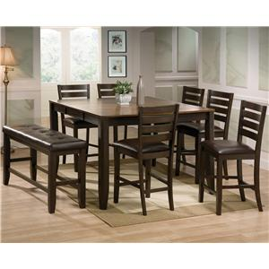 Elegant Elliott 8 Piece Counter Height Table And Chairs With Bench Set By Crown Mark