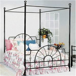 Foundry Queen Canopy Bed With Metal Frame And Bed Knobs By Crown Mark
