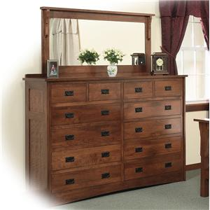 Amish Mission 12 Drawer Solid Wood Double Dresser With 58 X 28 Landscape Mirror By Daniel S