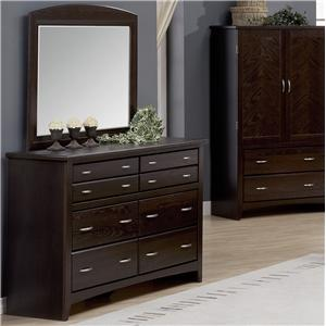 Mirage Eight Drawer Dresser With Wood Framed Ladscape Mirror By Defehr