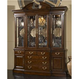 American Cherry Andover Breakfront China Cabinet With Mirrored Back Panel  By Fine Furniture Design