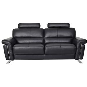 Cagney Contemporary Black Faux Leather Sofa By Fine Home Ltd