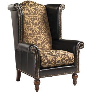 Customizable Kings Row Leather Upholstered High Back Wing Chair With  Decorative Nailhead Trim By Henry Link Trading Co.