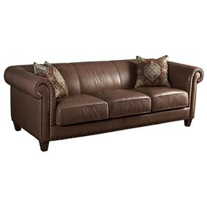 Upholstery Rusche Leather Sofa With Clean Traditional Chesterfield Style By HGTV Home Furniture Collection