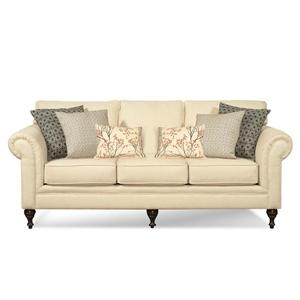 Gentil 2330 Traditional Rolled Arm Sofa With Accent Pillows By Hillcraft