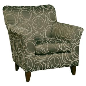 347 Transitional Accent Chair With Flared Arms And Wood Feet By Hillcraft