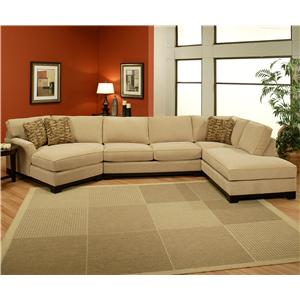 Sagittarius Casual 3 piece Sectional with LAF Cuddler Chaise by Jonathan Louis : jonathan louis bradford sectional - Sectionals, Sofas & Couches