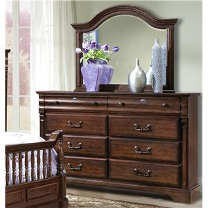 Washington Manor Eight Drawer Dresser With Arched Landscape Mirror By  Vaughan Furniture