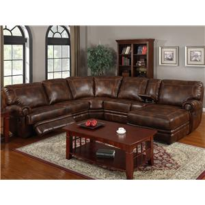 3442 Transitional Six Piece Reclining Sectional Sofa with RAF Chaise and Drink Console by Kian  sc 1 st  Sofa Sectional Dealers : reclining leather sectional sofa - Sectionals, Sofas & Couches