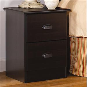 2 Drawer Night Stand with Roller Glides