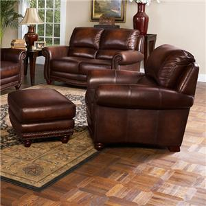 Beautiful James Traditional Leather Chair And Ottoman With Nailhead Trim By Leather  Italia USA