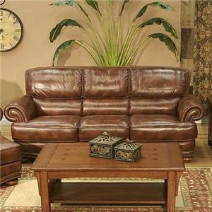 Cowboy Transitional Warm Brown Leather Sofa With Nailhead Trim By LG  Interiors