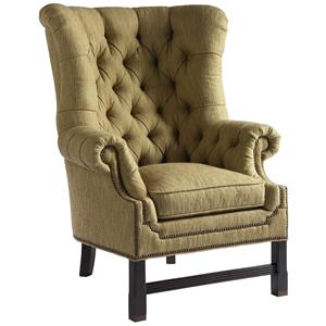 Lovely Custom Upholstery Lancaster Transitional Chair With Hand Tufted Back By Lillian  August