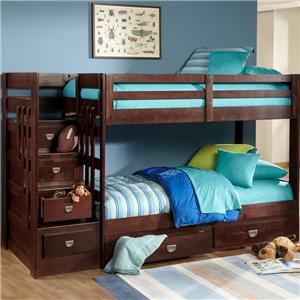 University OFW Contemporary Twin Over Twin Stair Bunk Bed By Oak Furniture  West