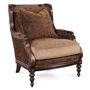 Superbe Kiana Traditional Exposed Wood Chair With Nailheads By Rachlin Classics