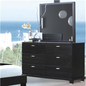 Merveilleux Daisy Modern 6 Drawer Dresser With Silver Accents And Picture Frame Mirror  By Rotta Furniture
