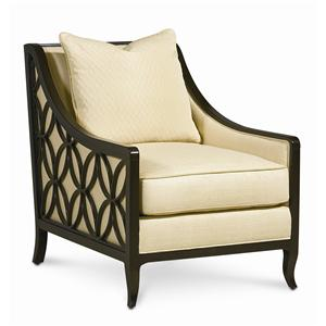 caracole upholstery social butterfly chair with exposed wood frame by schnadig - Wood Frame Accent Chairs