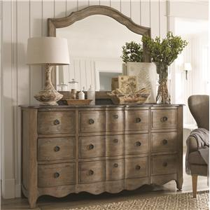 cobblestone bedroom 9 drawer dresser with granite top and french mirror by schnadig