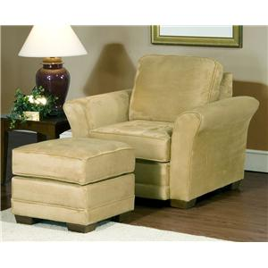 4900 Comfortable Club Chair And Ottoman Set With Modern Living Room Style  By Serta Upholstery By Hughes Furniture