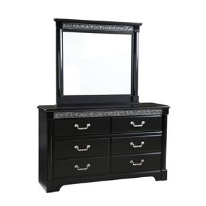 Venetian Dresser With 6 Drawers And Square Mirror With Split Columns By  Standard Furniture
