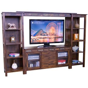 Santa Fe Rustic 108 Inch Open Display Wall Unit By Sunny Designs