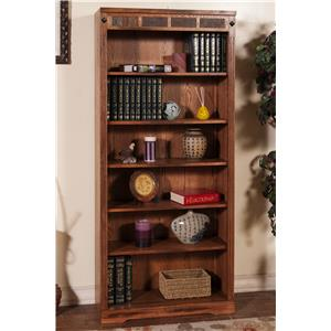 Sedona Distressed Oak 6 Shelf Bookcase With Slate By Sunny Designs