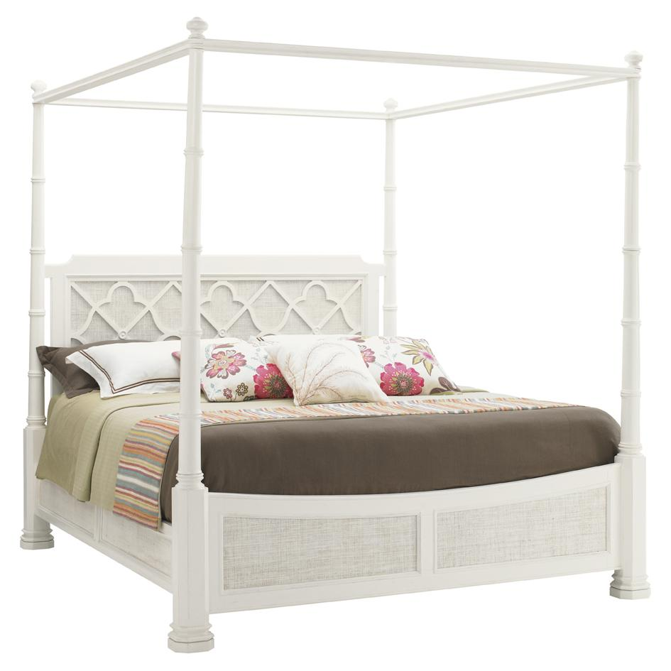 Queen size white four poster bed