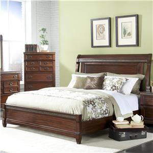 Morgan Road King Sleigh Bed With Nail Head Trim And Side Cut Outs By  Vaughan Furniture