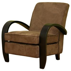 Wholesale Interiors Accent Chairs Microfiber Club Chair With Exposed Wood Arms And Plush Cushion Seat By