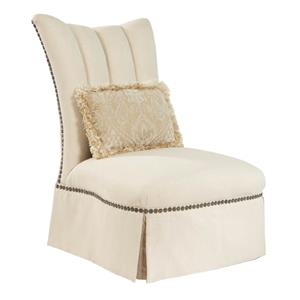 Cinderella Armless Parsons Chair with Broach Accented Back by Rachlin Classics